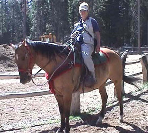 Ann on trail ride Lake Tahoe